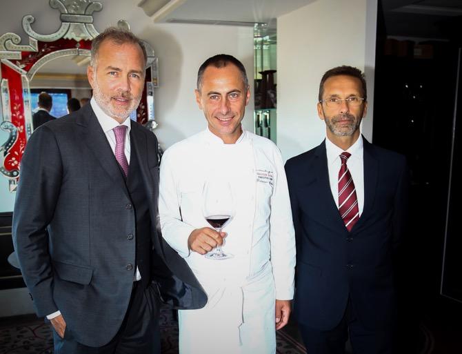 Paolo Damilano, proprietor of Damilano Barolo; Chef Francesco Apreda of Imago all'Hassler and Alessandro Bonelli, enologist of Damilano Barolo