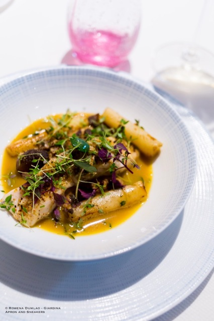 Yellow Pollack Fillet (gently steamed, chestnuts and salsify cooked together, buttered juice grilled mussels)