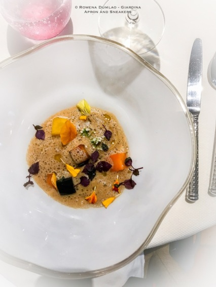 Racine Carrée (cooked with hay from the crau, thin raviole, concentrated juices with thyme)