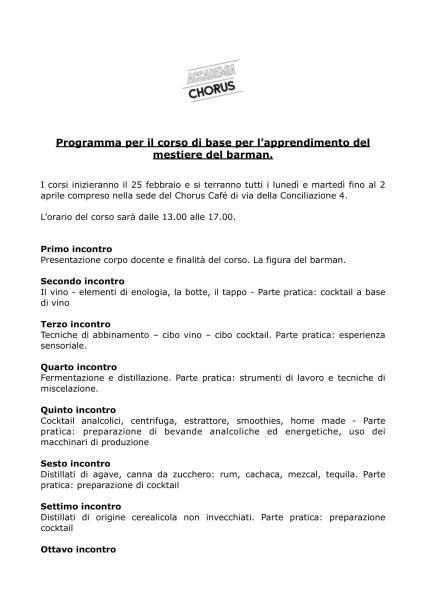 Programma corso Accademia Chorus II edizione-1